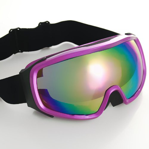 Purple Frame Tinted Lens Adjustable Elastic Strap Padded Padding Frost Free Women UV Goggles For Motorcycle BMX ATV Dirt Bike Biker Helmet Decoration Ice Ski Snowboard Cross Country Skiing, Outdoor Stuffs