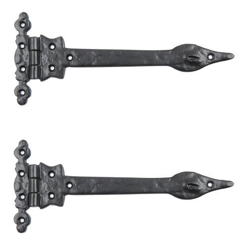 Black Cast Iron Spear Hinges Leaf Design Pair Of New (6') Bridewell Ironmongery