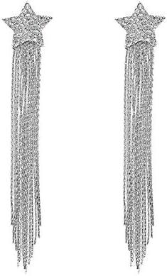 女性のヨーロッパやアメリカのファッションロング気質のタッセルイヤリング光沢のあるスーパー妖精ダイヤモンド人格五芒星のイヤリング