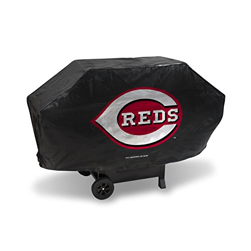 MLB Cincinnati Reds Deluxe Grill Cover, Black, 68 x 21 x 35