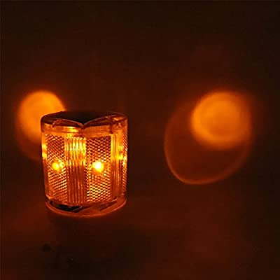 Aolyty LED Solar Strobe Warning Light Flashing Construction Safety Road Barricade Traffic Automatic Vehicle Signal Beacon Lamp Waterproof Automatically Turn on (Yellow): Home Improvement
