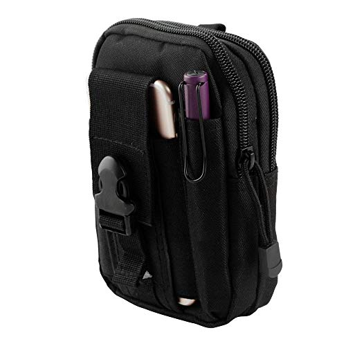 Bemz Travel Pouch for Cell-Phones up to 6.5 inches, 600D Nylon Waterproof Tactical EDC MOLLE Organizer Holster Carrying Case and Atom Cloth - Black from Bemz Depot