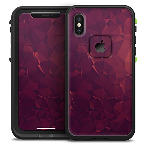 (Red and Burgandy Geometric Shapes Design Skinz Decal Skin Wrap Kit for The LifeProof FRĒ Waterproof Case - iPhone XR)