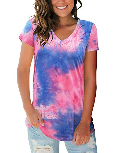 liher Womens Short Sleeve Tops V Neck Tie Dye ()