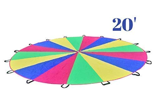 Parachute for Kids 20ft - Giant Play Parachute Canopy (20 Foot) with 16 Handles | Kids Parachute Outdoor Games and Exercise Toy | Promote Teamwork, Fitness, Social Bonding | Games for Kids Ages 3+]()