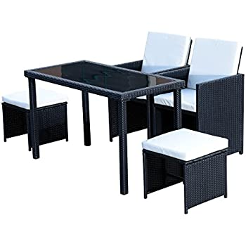 Outsunny 5 Piece Outdoor Rattan Wicker Dining Set