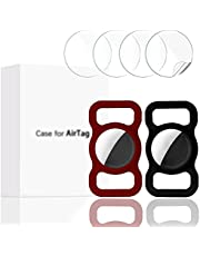Finyosee 2 Pcs Pet Silicone Protective Case for Apple Airtag GPS Finder Dog Cat Collar Loop, Pet Loop Holder for Air_tag, for Apple Locator Tracker Anti-Lost Device(Black WineRed)