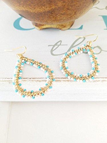 BOHO earrings, Turquoise Earrings, Tear drop Earrings ,Lightweight wire earrings, Bohemian Earrings, Cascading Dangle Earrings ()
