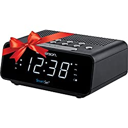 Emerson SmartSet Alarm Clock Radio with AM/FM Radio, Dimmer, Sleep Time and .9 White LED Display, ER100101