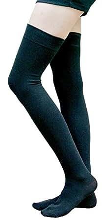 AM Landen Black Cotton Thigh High Socks Over Knee Socks Women's Long Socks(Small)