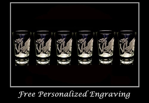 Welsh Dragon Shot Glass Set of 6 - Free Personalized Engraving, 2oz Shot Glass, Dragon Shot Glass, Wedding Favor Shot Glass by LyonCraft
