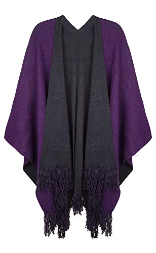 Lovful Women Winter Warm Faux Cashmere Feel Poncho Capes Scarf Shawl Cardigans Sweater Coat,BlackPurple ()