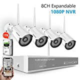 Security Camera Systme Wireless,Safevant 8CH 1080P NVR Wireless Security Camera System(1TB Hard Drive),4PCS 960P Wireless Security Cameras,Auto-Pair,Plug&Play,No Monthly Fee