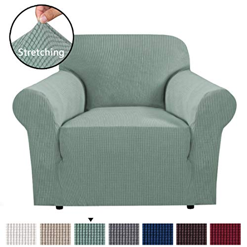 (H.VERSAILTEX 1 Piece Stretch Slip Covers/Protector Featuring Jacquard Textured Twill Fabric, High Spandex Lycra Slipcover Machine Washable/Skid Resistance (One Seater Chair, Sage))