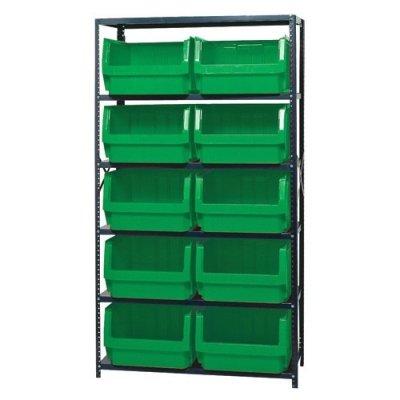 Verified Exchange Magnum Bin Unit with 6 Shelves & 10 Green Bins 19-3/4