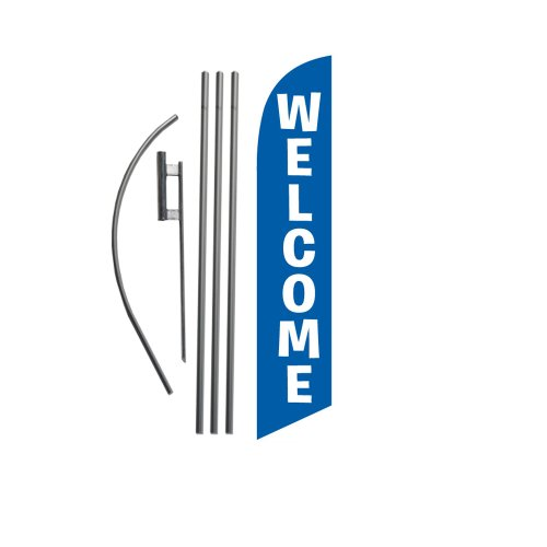 Welcome (blue) 15ft Feather Banner Swooper Flag Kit - INCLUDES 15FT POLE KIT w/ GROUND (Swooper Banner)