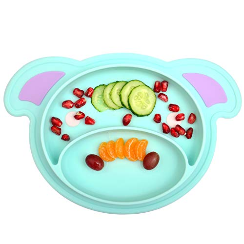 Food Pigs (Silicone Baby Placemat, Kekemonkey Food Feeding Suction Placemat Non-Slip Round Plate for Toddlers Children Kids Infants, Fits Most High Chair Trays Microwave Dishwasher Safe (Blue Pig))