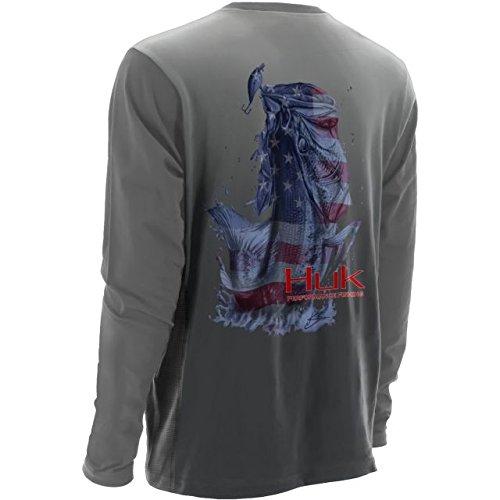 Sleeve Performance Fishing Shirt (HUK Performance Fishing Mens KScott Performance American BaShort Sleeve Long Sleeve Shirt, Cool)