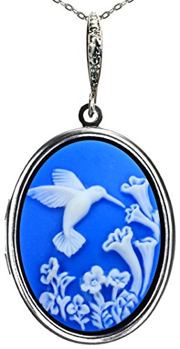 Photo Locket Necklace Pictures Memories Pendant 2 Chains Gift Jewelry (Sky - Locket Hummingbird