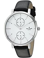 kate spade new york Womens Monterey Quartz Stainless Steel and Leather Casual Watch, Color:Black (Model: KSW1333)