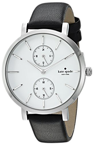 Kate Black Leather (kate spade new york Women's 'Monterey' Quartz Stainless Steel and Leather Casual Watch, Color:Black (Model: KSW1333))