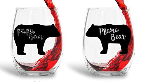 Mama Bear, Papa Bear - 15oz Crystal Wine Glasses - Couples Stemless Wine Glasses - His And Hers Gifts Ideas For Anniversary, Weddings, Bridal Showers