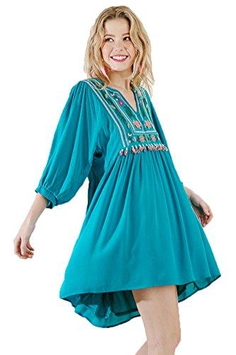 or Bohemian Tunic Dress Jade Women's Umgee qtwCE5aw