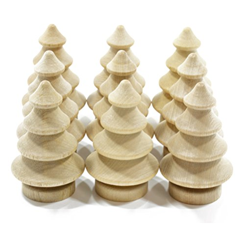 Tinksky 10pcs Blank DIY Wooden Christmas Tree Peg Dolls Party Cake Toppers Christmas Decoration (Large Tree Wooden Christmas)