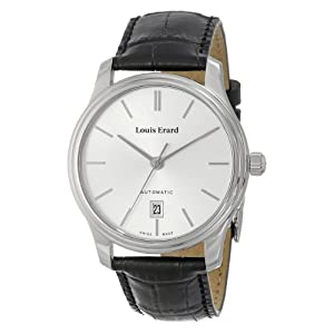 """Louis Erard Men's 69267AA11.BDC02 """"Heritage"""" Stainless Steel Automatic Watch with Leather Band"""
