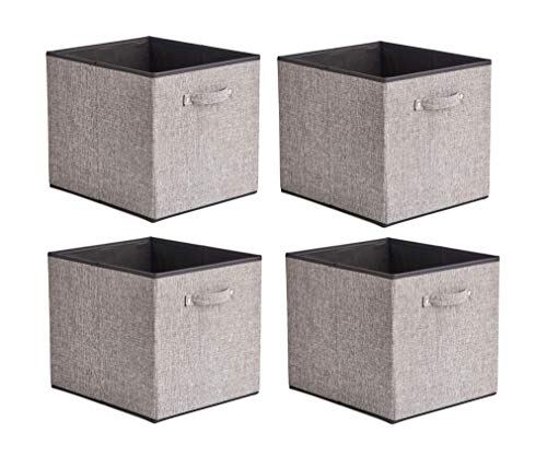 BeigeSwan Foldable Storage Bin [Set of 4] Fabric Organizer Container Cube Basket with Handles - 13 x 15 x 13 inch (Gray) (15 Storage Cube Unit)