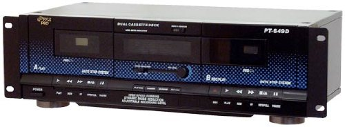Pyle Home Digital Tuner Dual Cassette Deck | Media Player | Music Recording Device with RCA Cables | Switchable Rack Mounting Hardware | CrO2 Tape Selector | Included 3 Digit Tape Counter - 110V/220V