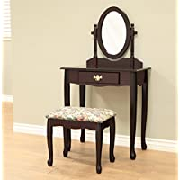 Frenchi Home Furnishing 3-Piece Vanity Set, Cherry