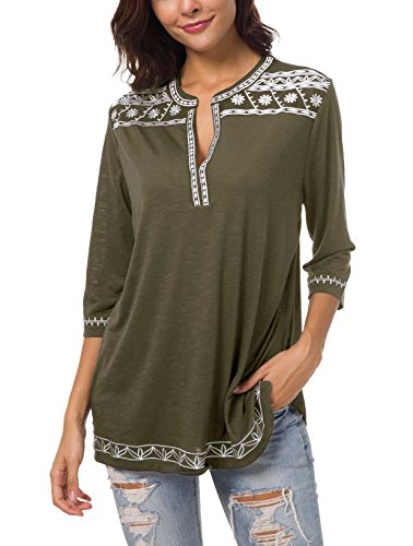 Women's 3/4 Sleeve Boho Shirts Embroidered Peasant Top (S, Oliver) ()