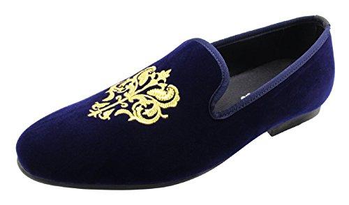 Santimon Uomo Moda Vintage Slip-on In Velluto Mocassini Ricamati Punta Rotonda Blu