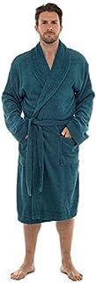 Tom Franks Men's Terry Towelling 100% Cotton Shawl Collar Bath Robe, Green, Medium/Large