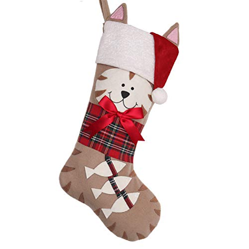 Christmas Stockings Personalized (Valery Madelyn 21 inch Joyful Pet Christmas Stockings Personalized Hanging Cat with Fish and Christmas Hats (Pet)