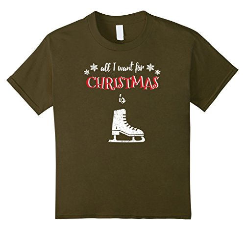 Kids All I Want For Christmas Is Ice Skating - Christmas T-Shirt 12 (Ice Skating Costumes Cheap)