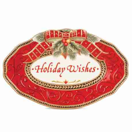 Damask Holiday Sentiment Oval Serving Tray Fitz And Floyd Serving Tray