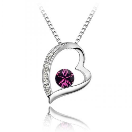 Sparkling Floating Deep Pink Colored and Clear Heart Charm Necklace (Pink Sparkling Heart)