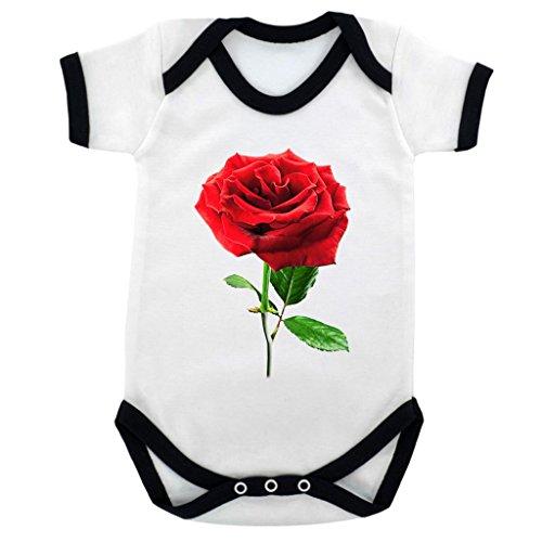 A Single Rose Florist - Single Rose Image Baby Bodysuit White with Black Trim