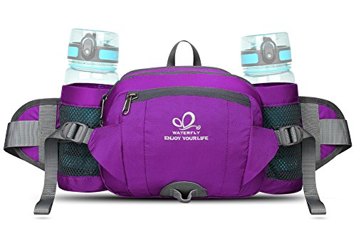 Gauze Purple (WATERFLY Fanny Pack with Water Bottle Holder Hiking Waist Pack Bag Running Belt Outdoor Sport Lumbar Pack Hip Pack for Riding Cycling Climbing Trekking Walking And for iPhone iPod Samsung Smartphones)