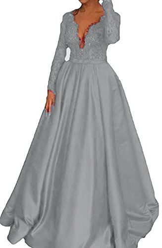 Dresses Gown Bodice Line A BD467 Sleeves Evening Long Grey BessDress Lace Formal Prom Party PtwC6Pq