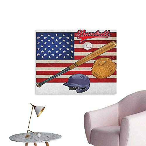 Anzhutwelve Sports Wallpaper USA American Flag and Baseball Equipment Championship Tournament Inspired Artwork Art Poster Multicolor W48 xL32