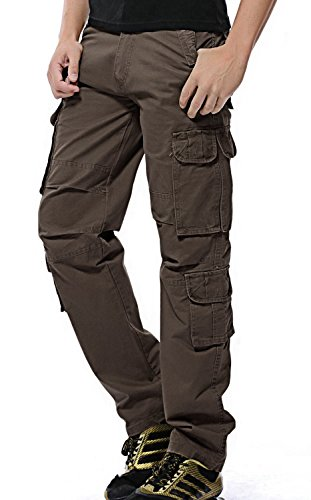 TBMPOY Men's Loose Cotton Multi Pockets Military Cargo Pant Relaxed-Fit Tactical Trousers(1coffee,US 34) (Pocket Trouser)