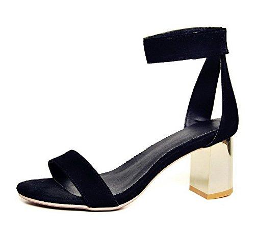 AalarDom Mujeres Puntera Abierta Velcro Piel De Oveja Sólido Tacón ancho Sandalia Negro