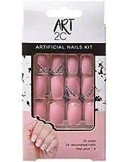 Art 2C - Kit de uñas postizas con pegamento fáciles de poner y quitar, 24 uñas decoradas, 10 tamaños