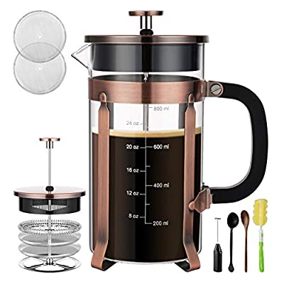 Veken French Press Coffee Maker, 304 Stainless Steel Coffee Press with 4 Filter Screens, Durable Easy Clean Heat Resistant Borosilicate Glass - 100% BPA Free
