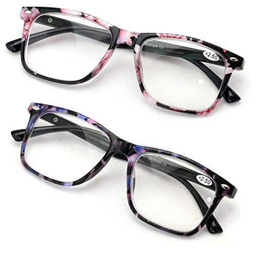 2 Pairs Large Women Floral Fashion Reading Glasses - Stylish Rectangle Reader (Floral Pink/Purple, 2.50)