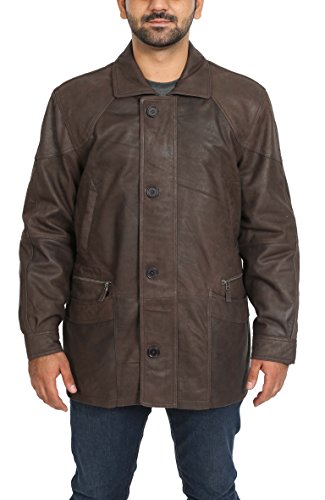 Mens Real Leather Parka Car Coat Classic Winter Overcoat M2 Brown (XXL)