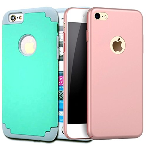 [2Pack]iPhone 6 Plus Case, iPhone 6S Plus Case, iBarbe Slim Fit Shell Hard Plastic PC Full Protective Shock Proof Anti-Scratch &Fingerprint Non Slip Cover for iPhone 6/6S Plus 5.5 inch-Rosegold+teal